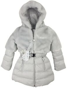 NEW-AUTHENTIC-ELSY-RRP-279-AGE-12-MONTHS-BABY-GREY-FUR-DOWN-JACKET-COAT-JK06