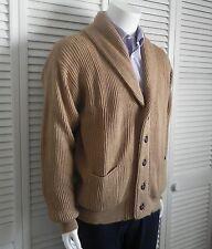 NEW Mens Size M ALPACA Wool Beige Khaki Shawl Collar Classic Cardigan Sweater