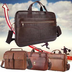 Men-Genuine-Leather-Business-Briefcase-Handbag-Laptop-Shoulder-Messenger-Bag