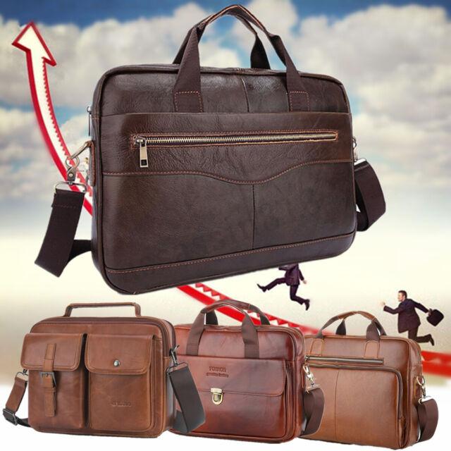 Men Genuine Leather Business Briefcase Handbag Laptop Shoulder Messenger Bag
