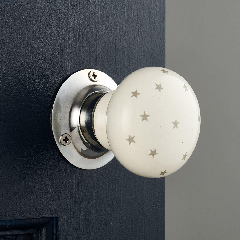 Pair of Grey Stars Ceramic Mortice Door Knobs. Large white turning door handles