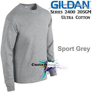 Gildan-Long-Sleeve-T-SHIRT-Sport-Grey-basic-tee-S-5XL-Men-039-s-Ultra-Cotton