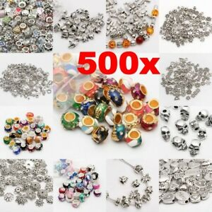 Lot-500Pcs-Tibet-Silver-Beads-Spacer-For-Jewelry-Making-European-Bracelets