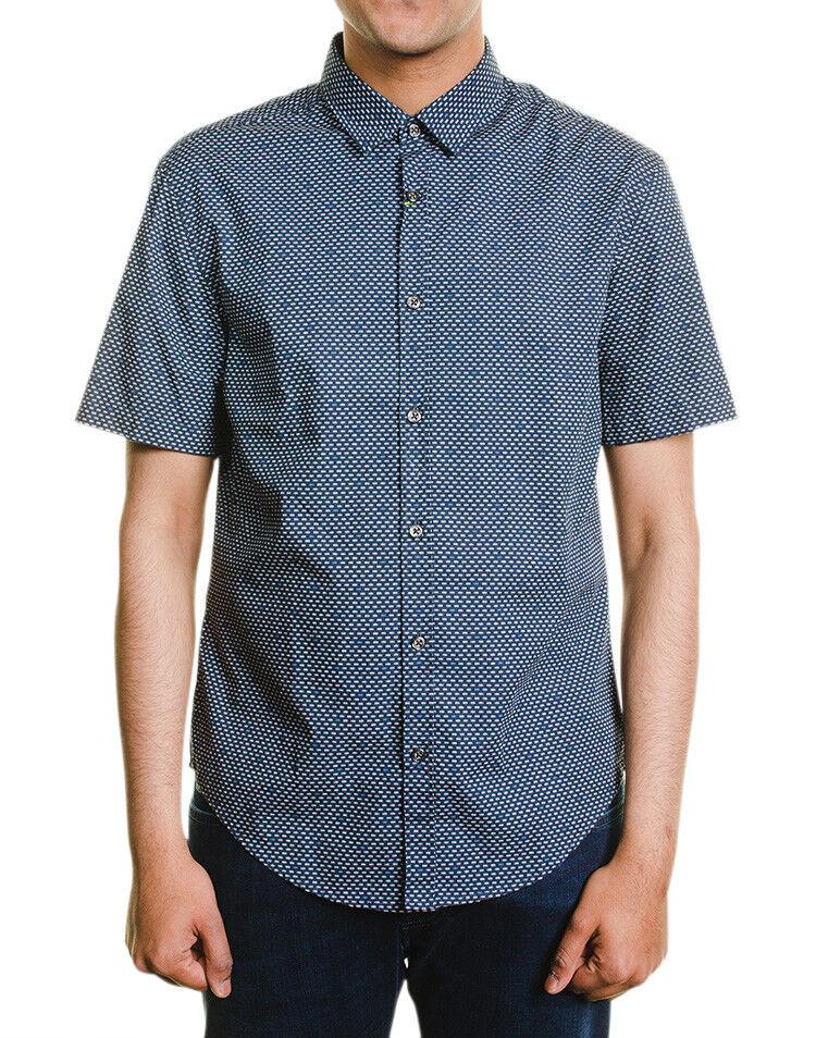 Hugo Boss Green Label C Boccino Short Sleeve Shirt XXL Slim Fit bluee  New