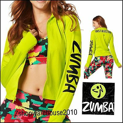 "ZUMBA INSTRUCTOR ""All Meshed Up"" Zip-Up Jacket Cardigan ThumbholeNcuff S M L XL"