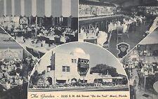 Miami Florida 1940-50s Postcard The Garden Restaurant Cocktail Lounge