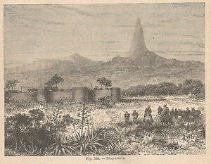 A2660 Niagassola - Veduta - Xilografia - Stampa Antica Del 1895 - Engraving