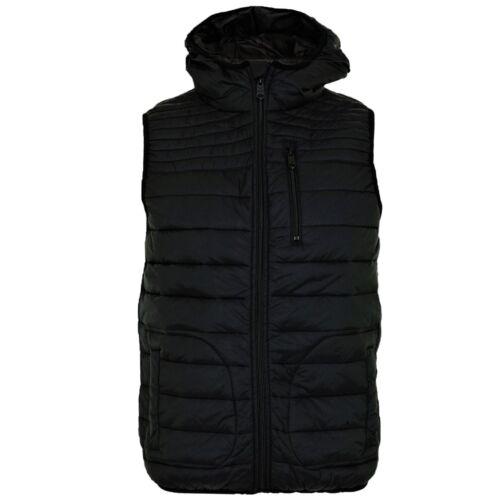 Mens Threadbare Padded Bodywarmer Panel Quilted Hooded Lightweight Gilet Jacket