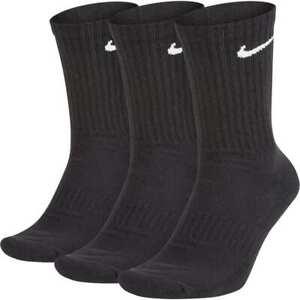 Detalles de Nike Everyday Cushion Crew 3Pr Calcetines Negro Unisex