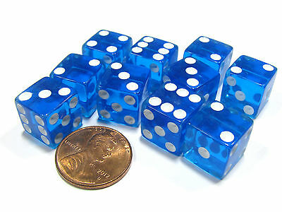 Set of 10 D6 Six-Sided 12mm Transparent Dice - Blue with White Pips