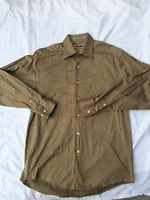 Joseph Abboud 100% Egyptian Combed Cotton Dark Tan Dress Shirt Size 15 32/33