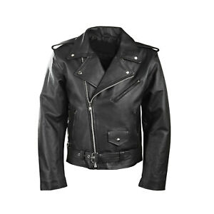 Men-039-s-Motorcycle-Perfecto-Brando-100-Real-Fashion-Leather-Jacket-Black-Biker