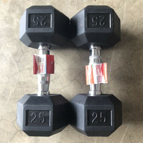 50LB TOTAL NEW Weider 25lb Rubber Coated Hex Dumbbell PAIR **SHIPS TODAY**