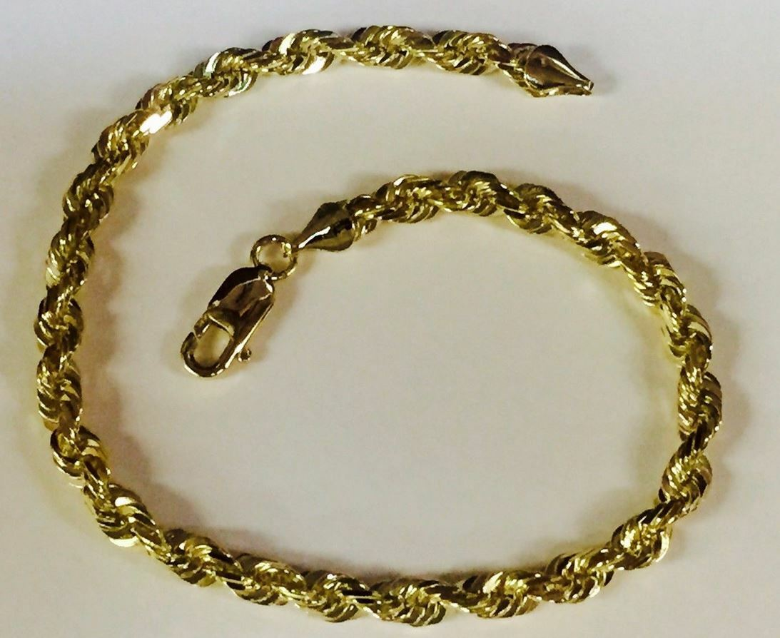 18k SOLID gold Diamond Cut ROPE Link Chain Bracelet 8.5  6 MM 24 grams