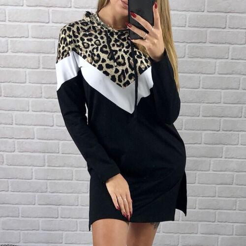 Women Leopard Print Hoodie Hooded Mini Dress Jumper Pullover Sweater Sweatshirt