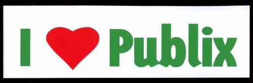 PUBLIX SUPERMARKET COLLECTIBLE NEW! I LOVE PUBLIX BUMPER STICKER WITH HEART