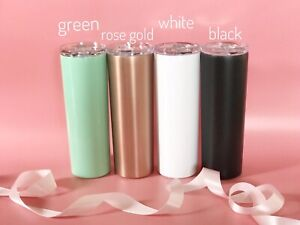 Details about 20oz Stainless Steel Insulated Skinny tumbler With Straw /  Slide Lid