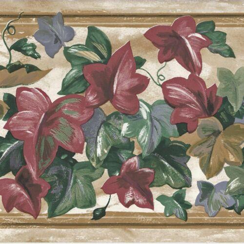 Flower /& Ivy Leaf Wallpaper Border A235 Burgundy Gold Blue ONLY $8