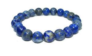 Bracelet de perles LAPIS LAZULI lait Pierres naturelles 8 mm 18cm Lithothérapie