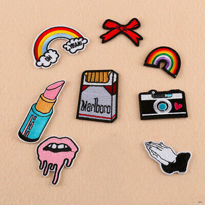 Brand New Iron On Smoking Red Lips Embroidered Applique Patch For DIY