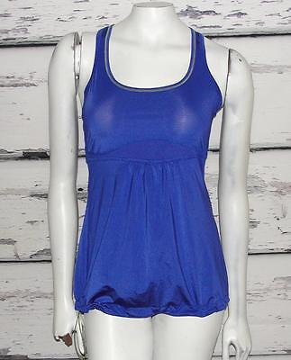 LUCY~STRIPED~STRETCH *DRAWSTRING HEM* RACER-BACK TANK~RUNNING TOP~S (RARE)
