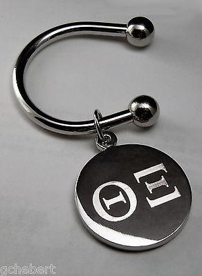 Theta Xi, ΘΞ, Disk Key Ring Greek Letter Silver Plate Non Tarnish