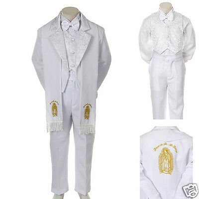 Baby Toddler Kid Child Boy Church Christening Baptism Tuxedo Suit S-7 White Gold A Complete Range Of Specifications