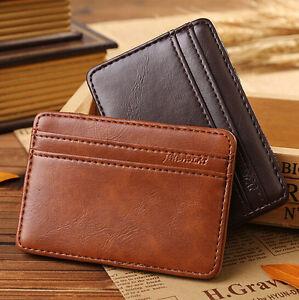 Men-039-s-Leather-Magic-Money-Clip-Slim-Wallet-ID-Credit-Card-Holder-Case-Purse