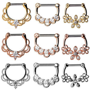 1PC-Clear-CZ-Stainless-Steel-Septum-Clicker-Nose-Ear-Ring-Hoop-Nose-Piercing