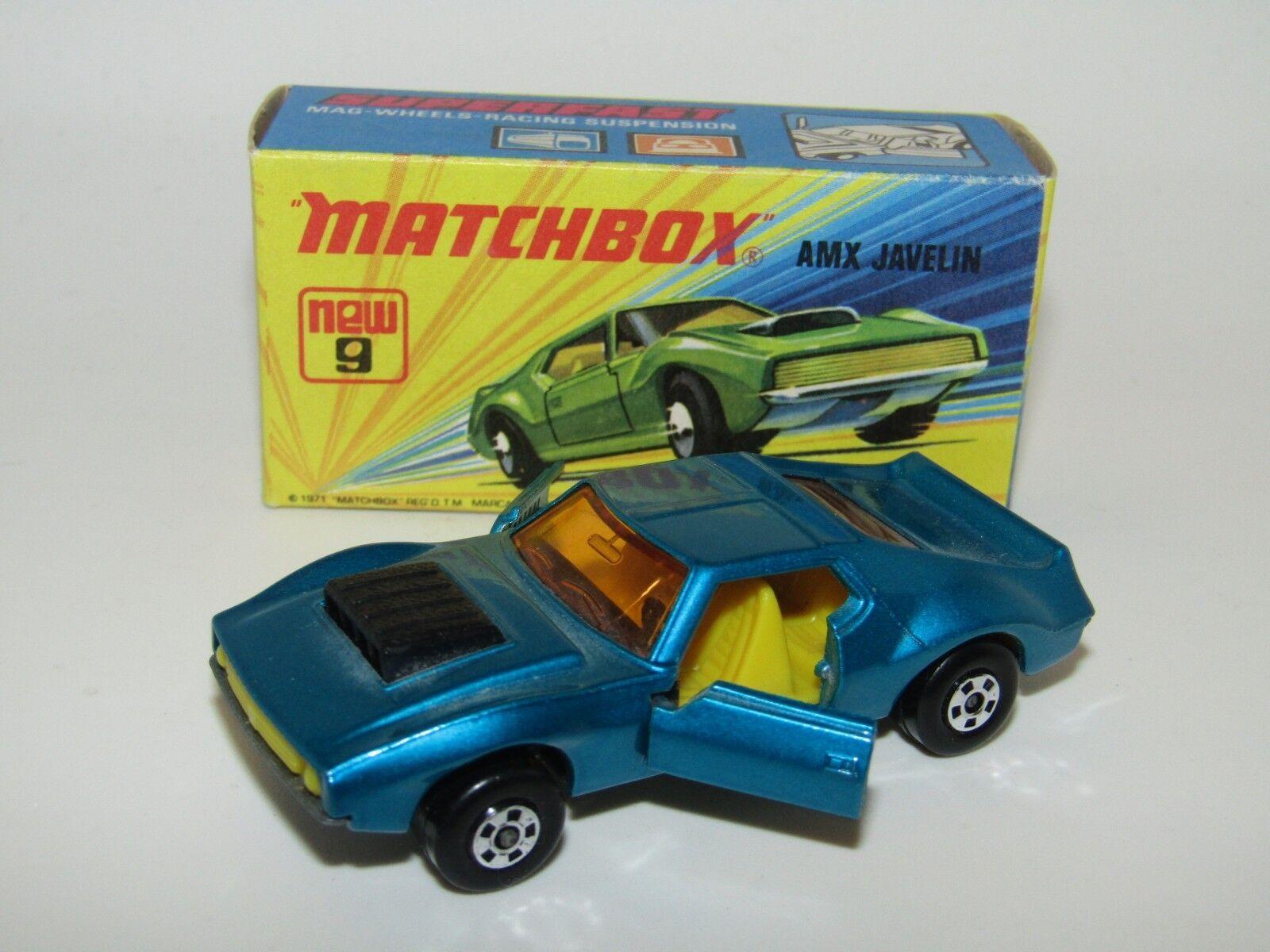 MATCHBOX SUPERFAST Nº 9 AMX Javelin LT rencontré bleu doors Open LT Yell int En parfait état, dans sa boîte RARE
