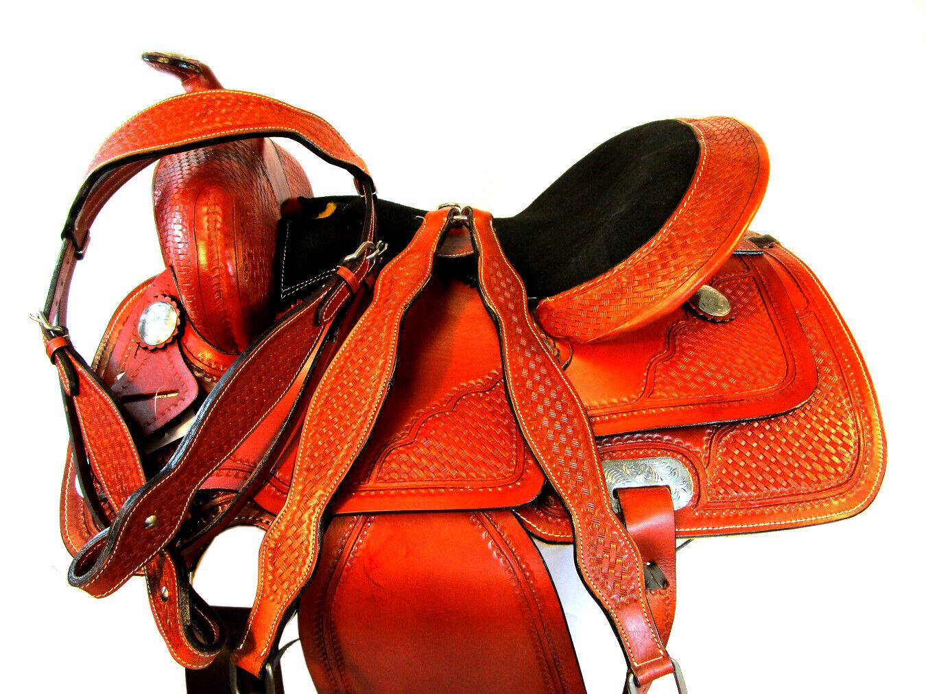 CLASSIC BASKET WEAVED WESTERN HORSE SADDLE 15 16 BARREL TRAIL PLEASURE