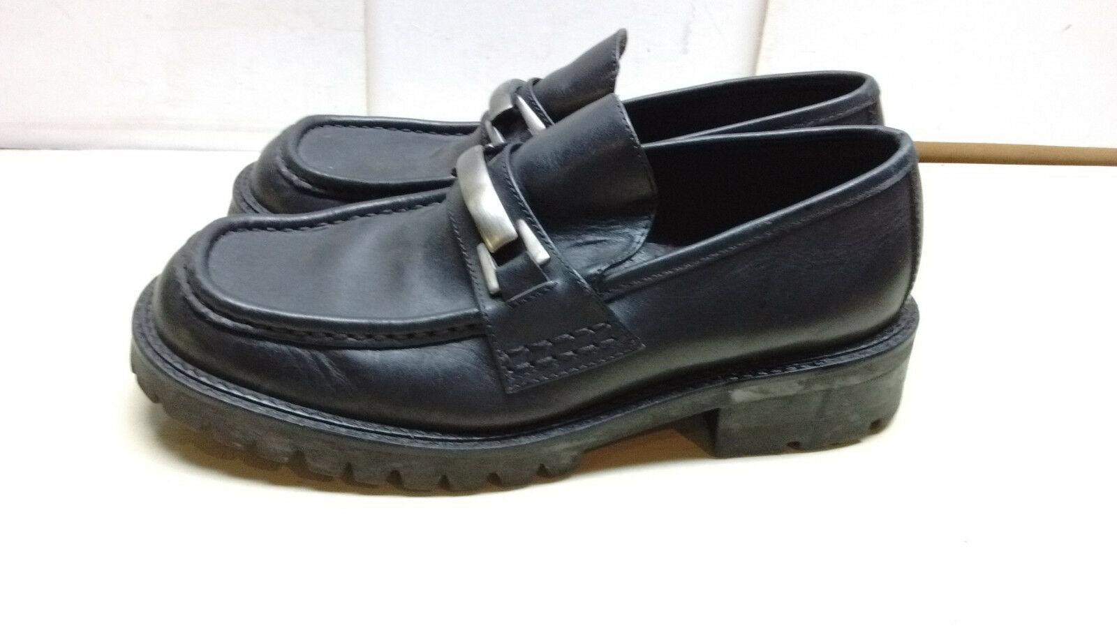 Kenneth Cole Reaction Black Leather Bar Loafer Apron Toe Dress Men Shoe 11M 44,5