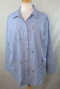 c4ebe1c623e5de AVA VIV WOMENS PLUS SZ BUTTON DOWN SHIRT TOP STRIPED FLORAL ...