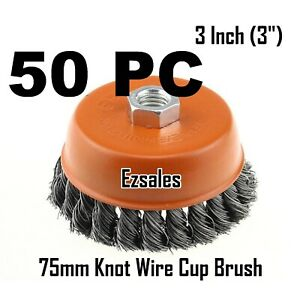 """50 x Heavy Duty 3/"""" inch 5//8/""""-11 Thread Knotted Type Twisted Wire Cup Brush"""