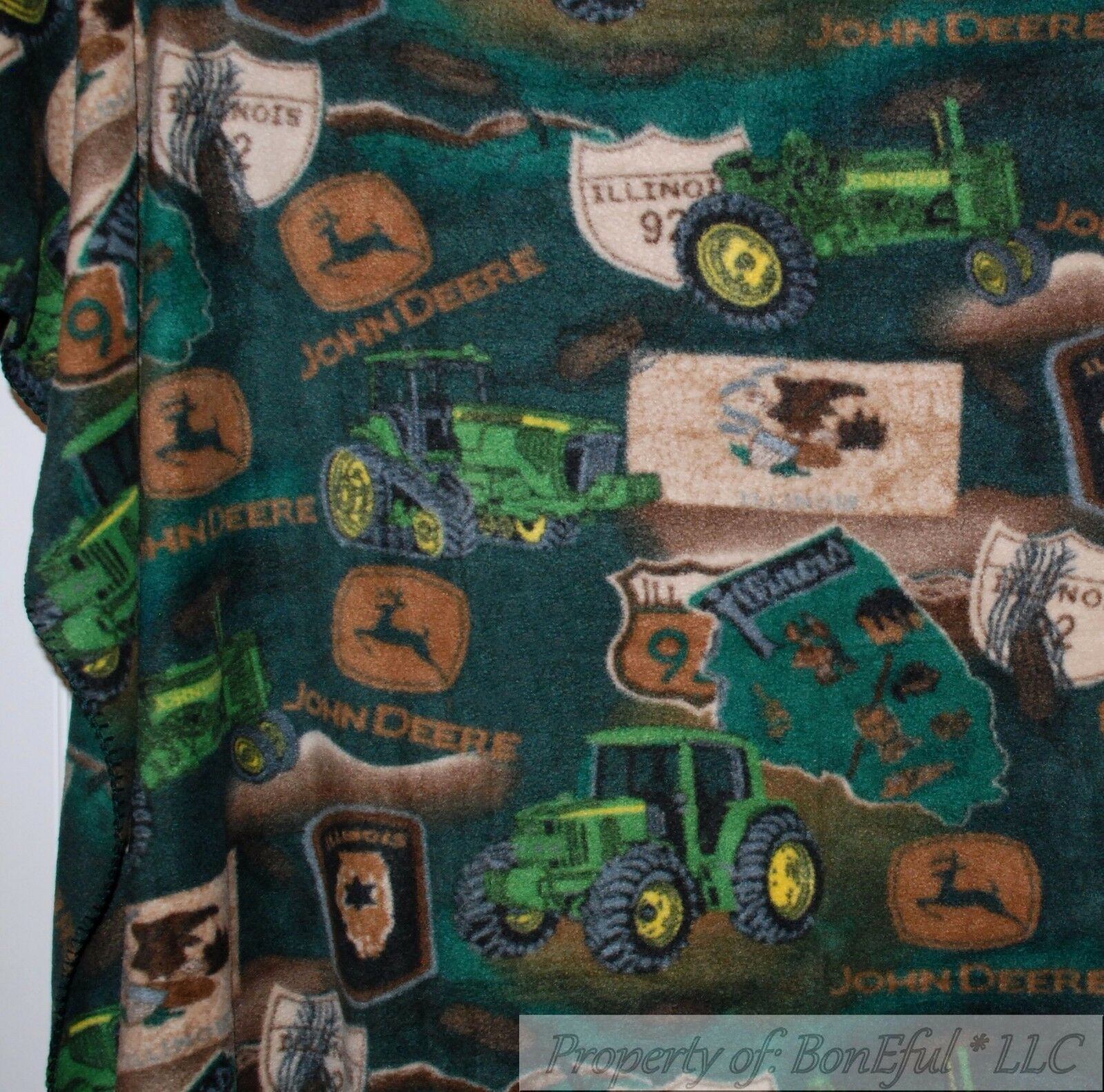 BonEful FABRIC Fleece Throw Quilt 50X60 Big L Panel Farm John Deere Tractor Tire