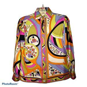 EMILIO-PUCCI-Vintage-Women-s-Size-8-Blouse-Saks-Fifth-Avenue-1960s-1970s-Groovy