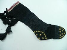 b            Free People Anthropologie Christmas Stocking Black Gold Crochet FP