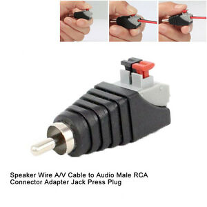 Speaker Wire A/V Cable to Audio Male RCA Connector Adapter Jack ...