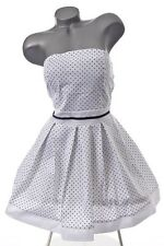NEU RETRO 50er 60er PETTYCOAT ROCKABILLY PIN-UP POLKA DOTS  KLEID WEIß 40 42
