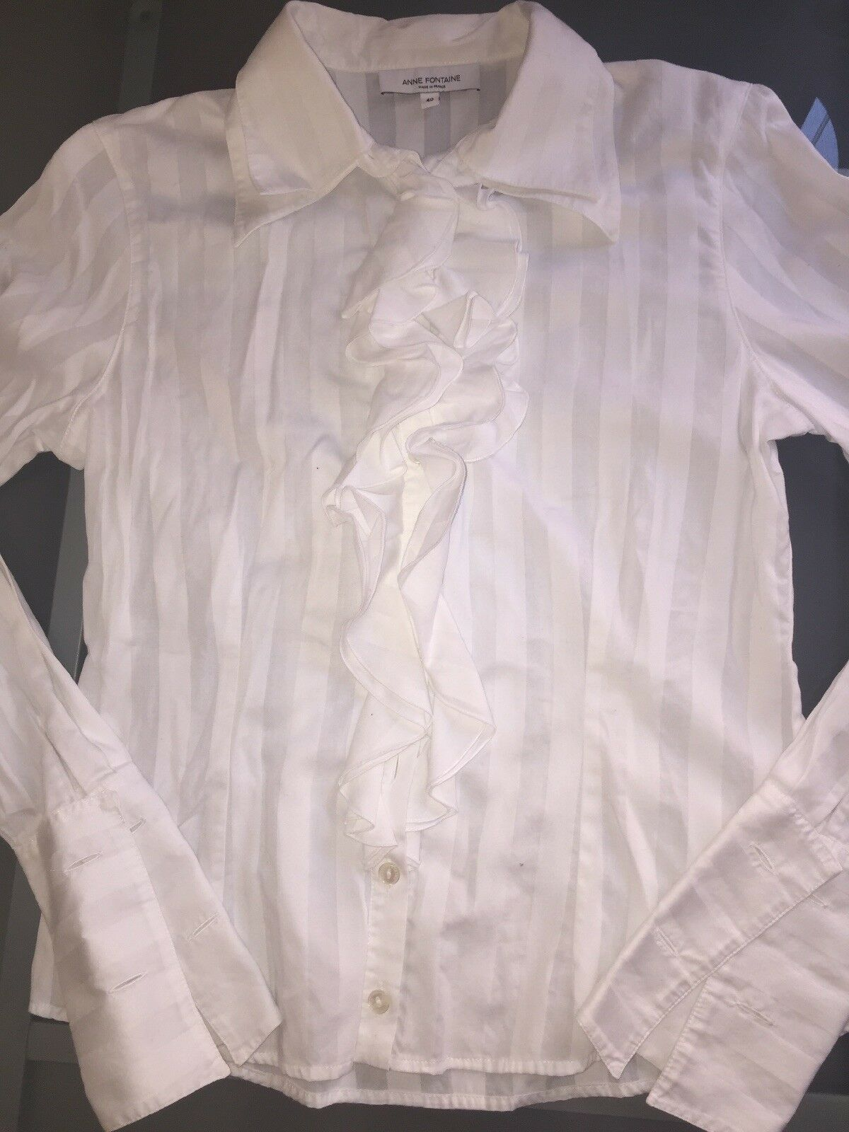 Anne Fontaine White Ruffled Blouse-Sz.40  - image 3