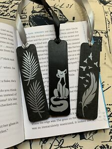 Lot Of 3 Handmade Black Wooden Bookmarks With Silver Metallic Design
