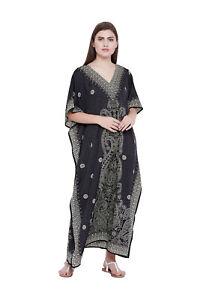 Kaftan-Caftan-Dress-Black-Size-Maxi-Women-Long-Plus-Beach-Tunic-Boho-Cover-Gown