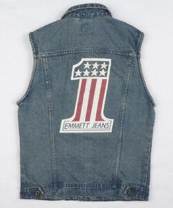 EMMETT-Mens-Denim-Jacket-Vest-Waistcoat-S-Workwear-Trucker-Rider-Utility-USA-NEW