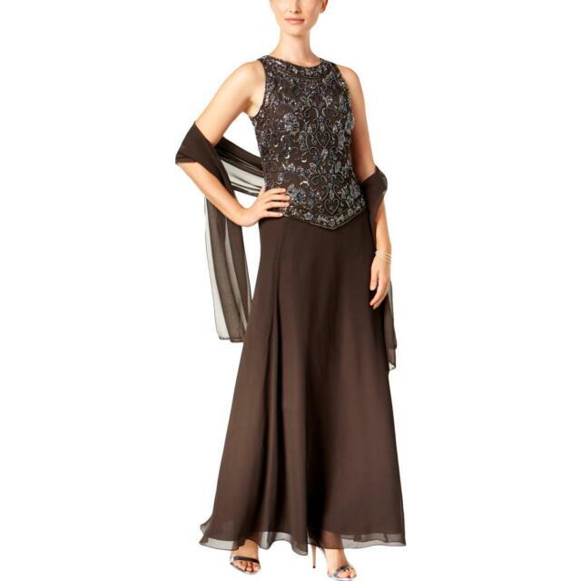 Beaded Sleeveless Evening Dress Gown