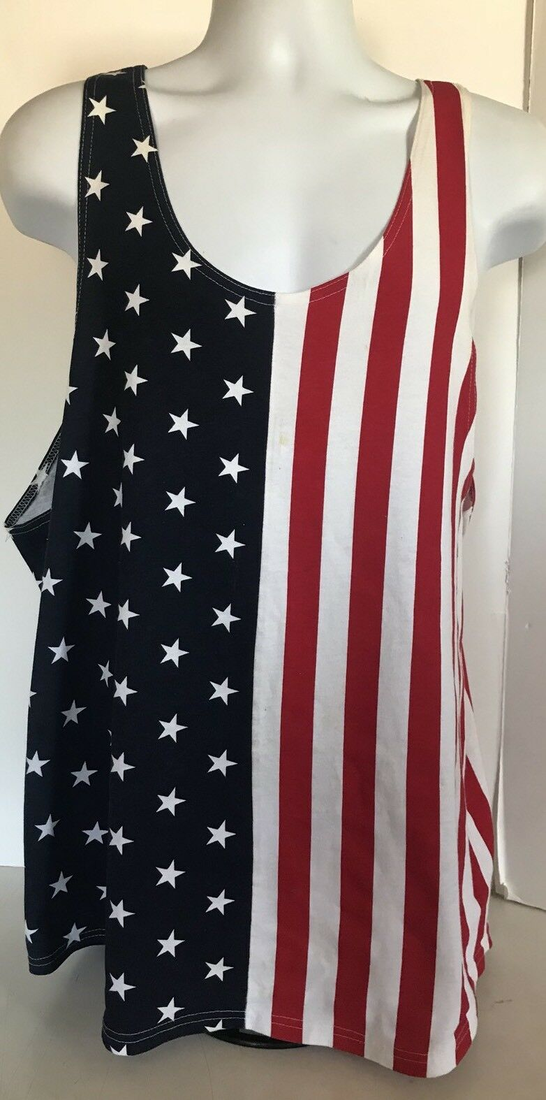 Vintage 80s Reelax USA Flag Tank Top T-Shirt Größe XL Muscle Tee Venice Beach