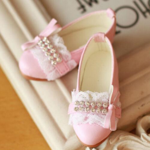 1//3SD 1//4MSD BJD Shoes Low Heel Shoes Diamond/&Bow/&Lace Deco AOD LUTS White//Pink