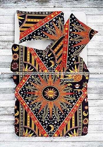 Indian Sun Duvet Doona Mandala Hippie Bohemian New Quilt 2 pillow Cover Blanket