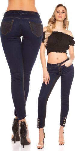 Koucla Jeanshose Damen Skinny Jeans mit Spitze und Knöpfen