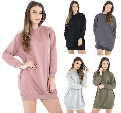 New WOMENS LADIES GIRLS OVERSIZED LONGLINE HOODED BAGGY SWEATSHIRT DRESS TOP UK