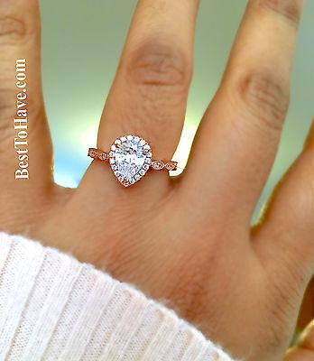 925 Silver Ladies Teardrop/pear Cut Rose Gold Wedding Engagement Halo Ring SpäTester Style-Online-Verkauf Von 2019 50%